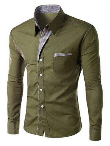 Hot Stripe Panel Casual Long Sleeve Military Shirt ARMY GREEN L