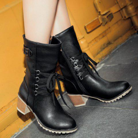 Affordable Buckle Tie Up Mid Calf Boots BLACK 37