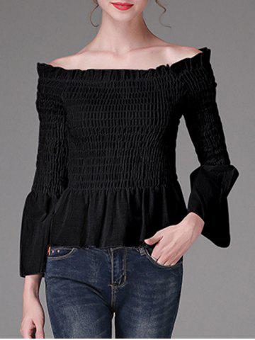 Sale Flare Sleeves Waisted Ruched Blouse