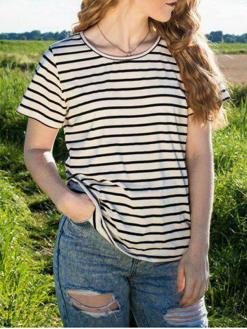 Hot Casual Cuffed Sleeve Striped Pullover T-Shirt For Women