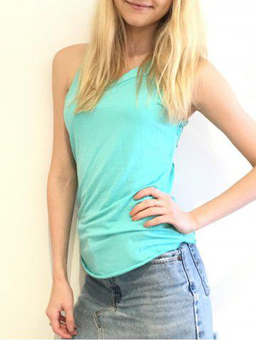 Fancy Endearing Round Neck Solid Color Cut Out Lace Spliced Backless Tank Top For Women