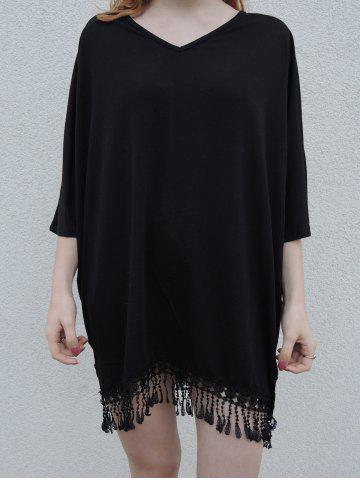 Buy Stylish V-Neck Half Sleeve Fringed Chiffon Cover-Up For Women