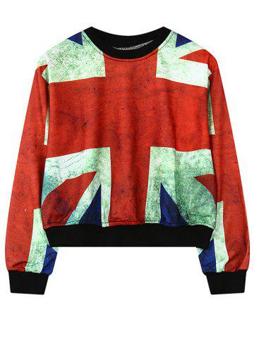 Sale Round Neck British Flag Print Sweatshirt For Women
