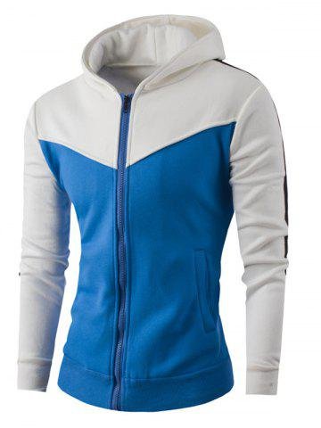 Zipper Up Color Block Striped Hoodie - WHITE 4XL