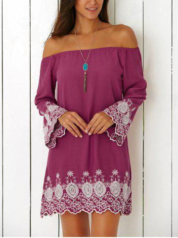 Outfits Vintage Off The Shoulder Embroidered Mini Shift Dress