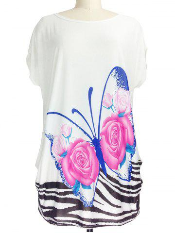 Online 3D Floral Print Loose-Fitting Butterfly Pattern T-Shirt
