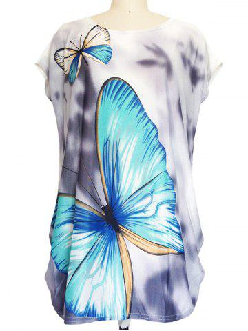 Affordable 3D Butterfly Print Baggy T-Shirt GRAY ONE SIZE