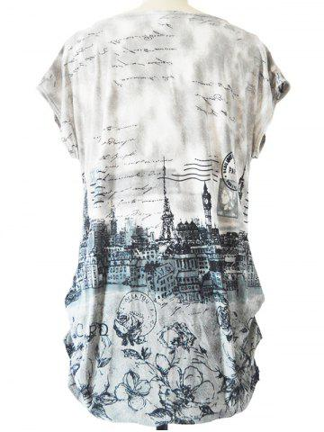 Hot Long Ruched Loose-Fitting Stamp Print T-Shirt - ONE SIZE GRAY Mobile