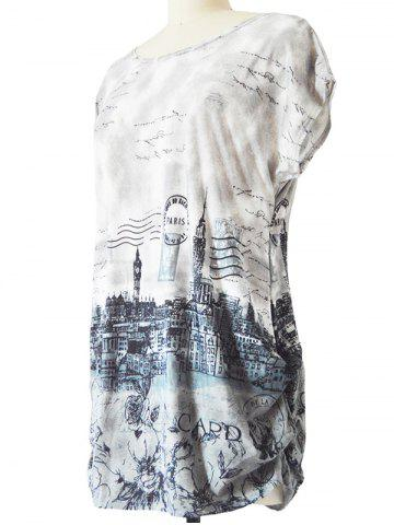 Buy Long Ruched Loose-Fitting Stamp Print T-Shirt - ONE SIZE GRAY Mobile