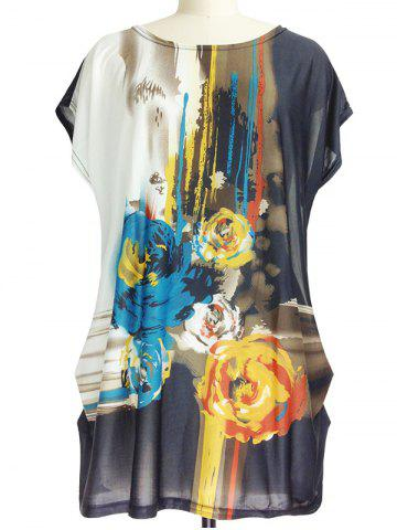 Fancy Abstract Floral Print Loose-Fitting Ruched T-Shirt