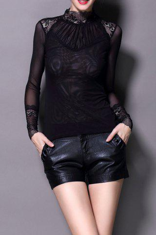 See Through Lace Spliced Blouse