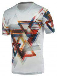 3D Geometric Print Round Neck Short Sleeve T-Shirt For Men - WHITE
