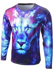 Round Neck Starry Sky 3D Lion Print Long Sleeve T-Shirt - COLORMIX