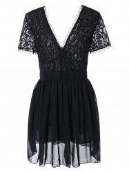 Plunging Lace Spliced Party Skater Club Dress - BLACK