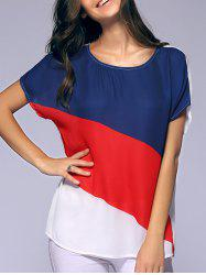 Fashionable Batwing Sleeves Round Collar Printing Chiffon T-Shirt  For Women - RED AND WHITE AND BLUE XL