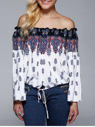 Elegant Off-The-Shoulder Long Sleeve Print Blouse -
