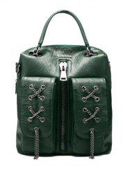 PU Zippers en cuir Chaînes Backpack -