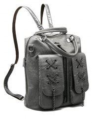 PU Leather Zippers Chains Backpack - GRAY