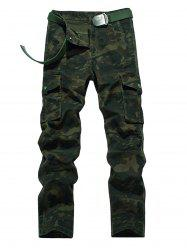 Plus Size Zipper Fly Straight Leg Pockets Embellished Camouflage Cargo Pants