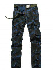 Plus Size Zipper Fly Straight Leg Pockets Embellished Camouflage Cargo Pants -