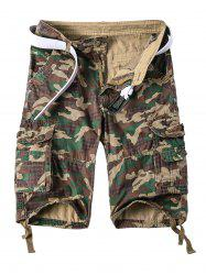 Straight Leg Multi-Pocket Lacing Hem Zipper Fly Camo Cargo Shorts For Men -