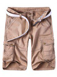 Solid Color Multi-Pocket Straight Leg Zipper Fly Cargo Shorts For Men