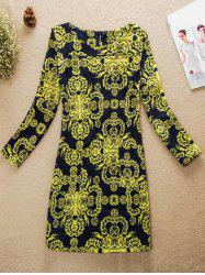 Printed Jewel Neck Dress
