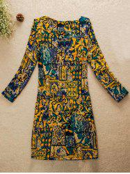 Abstract Picture Jewel Neck Dress -