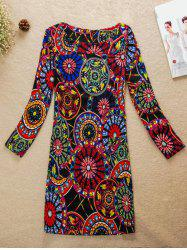 Colorful Round Pattern Jewel Neck Dress