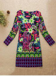 Flower Pattern Jewel Neck Dress