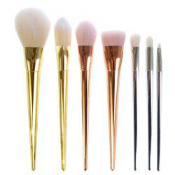 7 Pcs Plating Handle Nylon Facial Eye Makeup Brushes Set -