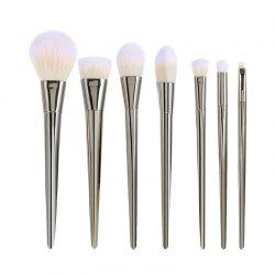 7 Pcs Plating Handle Nylon Facial Eye Makeup Brushes Set - SILVER