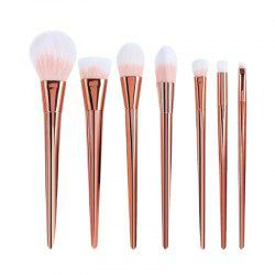 7 Pcs Plating Handle Nylon Facial Eye Makeup Brushes Set