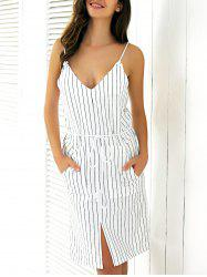 Casual Backless Stripe Slit Cami Dress