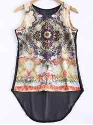 Asymmetrical Printed See-Through Tank Top