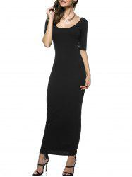 U Neck Open Back Skinny Maxi Fromal Dress
