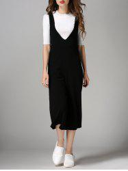 Plunging Neck Wide Leg Jumpsuit - BLACK