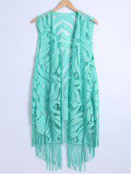 Lace Fringed Cardigan Long Beach Kimono Cover Up - TIFFANY BLUE