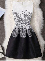 Floral Pattern High Waisted Zippered Dress - WHITE S