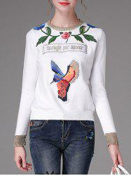 Floral and Bird Pattern Embroidery Sweater -