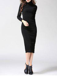 Turtleneck Ribbed Bodycon Midi Knit Dress - BLACK