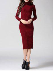 Turtleneck Ribbed Bodycon Midi Knit Dress
