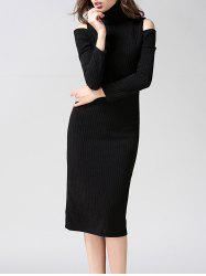 Turtleneck Open Shoulder Bodycon Midi Knit Dress - BLACK