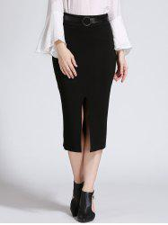 Slit Tie Belt Skirt -