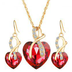 Faux Diamond Crystal Rhinestone Heart Wedding Jewelry Set - RED
