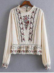 Openwork Fringed Floral Embroidered Blouse - OFF-WHITE L