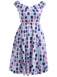 Oversized Colorful Plaid Print Pin Up Skater Dress