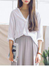 Plunging Neck 3/4 Sleeves Loose Blouse
