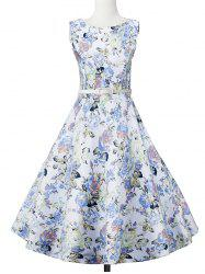 Floral Sleeveless A Line Vintage Dress