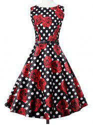 Polka Dot Floral Print Sleeveless Vintage Tea Dress - BLACK AND WHITE AND RED 2XL